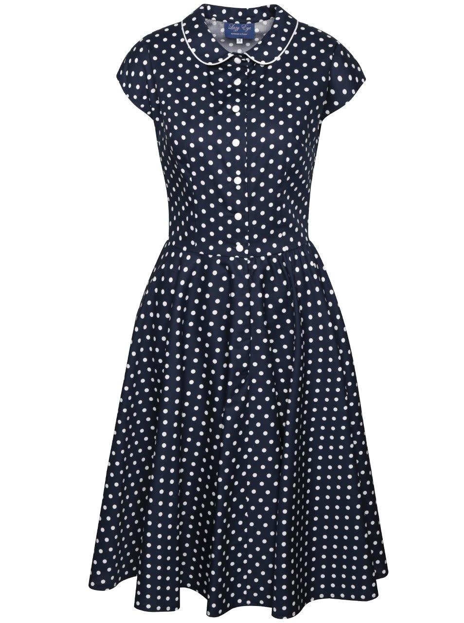 Tmavě modré puntíkované retro šaty s límečkem Lazy Eye Agnes