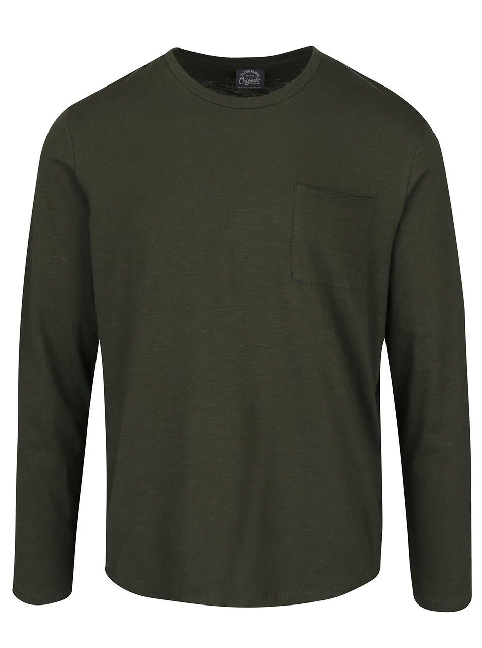 Tmavě zelené triko s náprsní kapsou Jack & Jones Dong