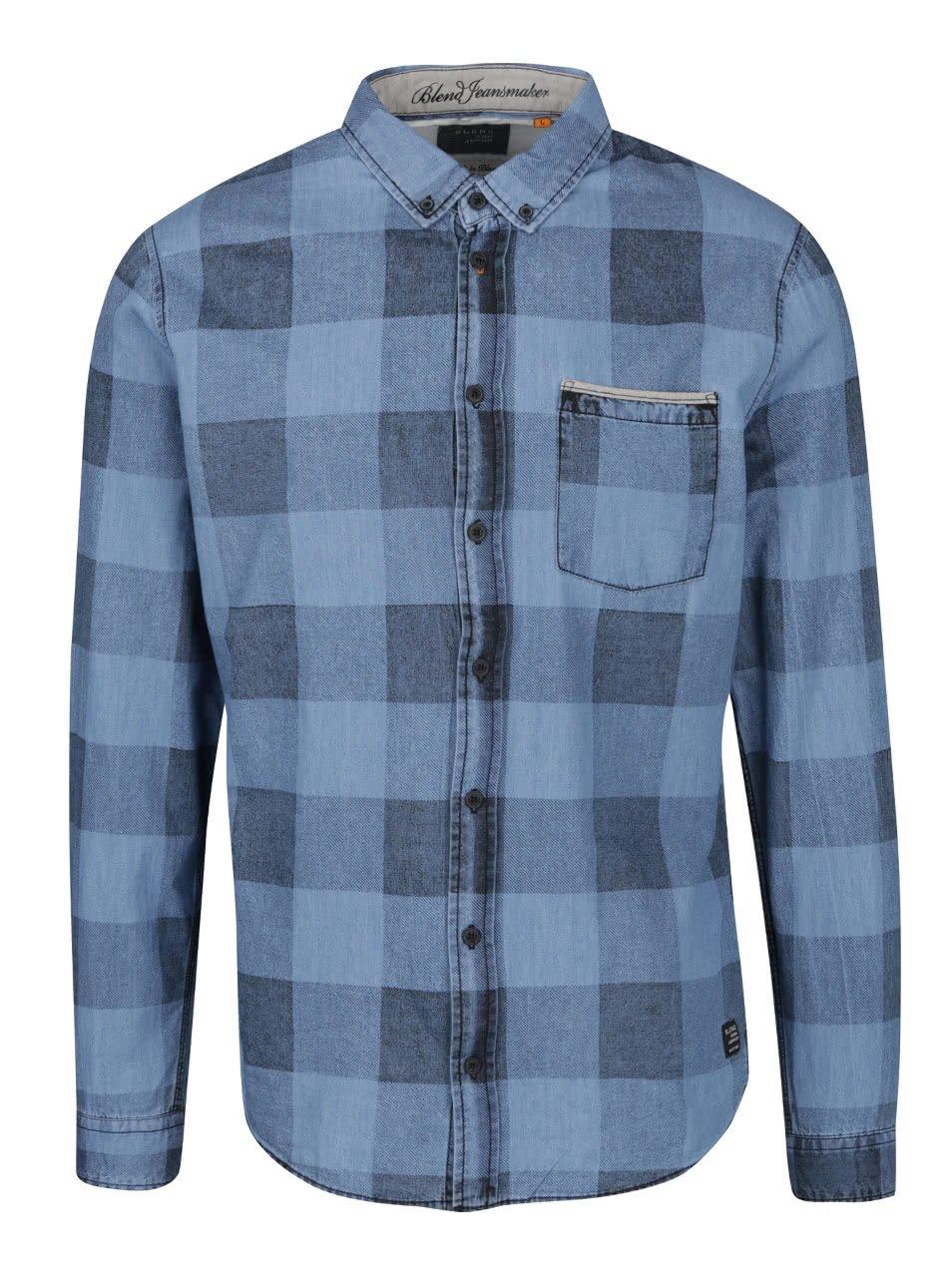 Modrá kostkovaná slim fit košile Blend