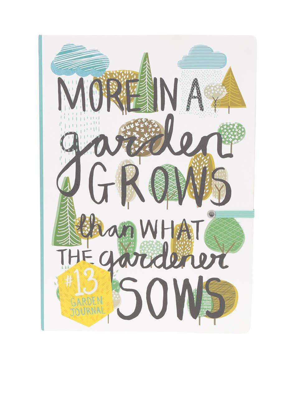 Zeleno-bílý vzorovaný sešit Thoughtful Gardener Garden Journal
