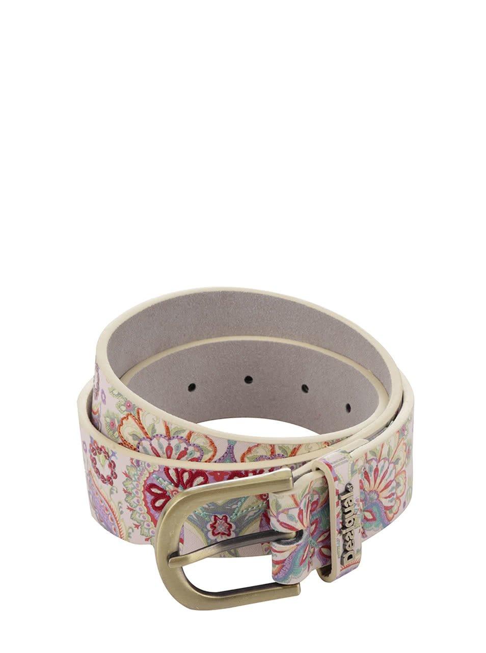 Béžový pásek s barevným vzorem Desigual Valkiri
