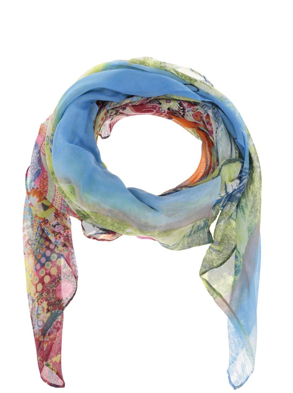 Oranžovo-zelený šátek Desigual Rectangle