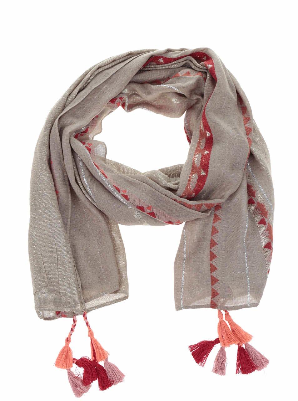 Béžový šátek s obrazci Desigual Rectangle Slim
