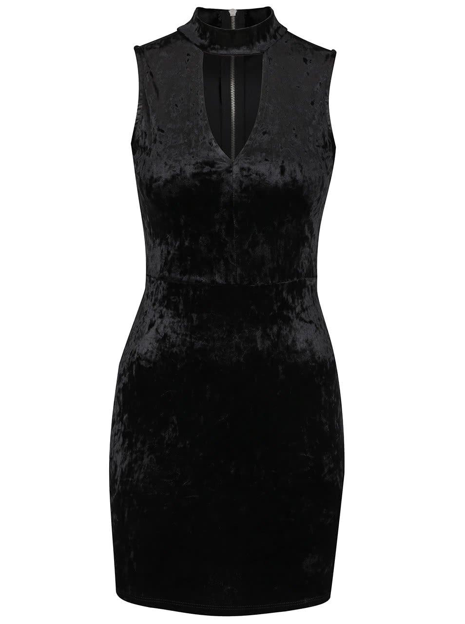 Černé sametové šaty s výstřihem TALLY WEiJL