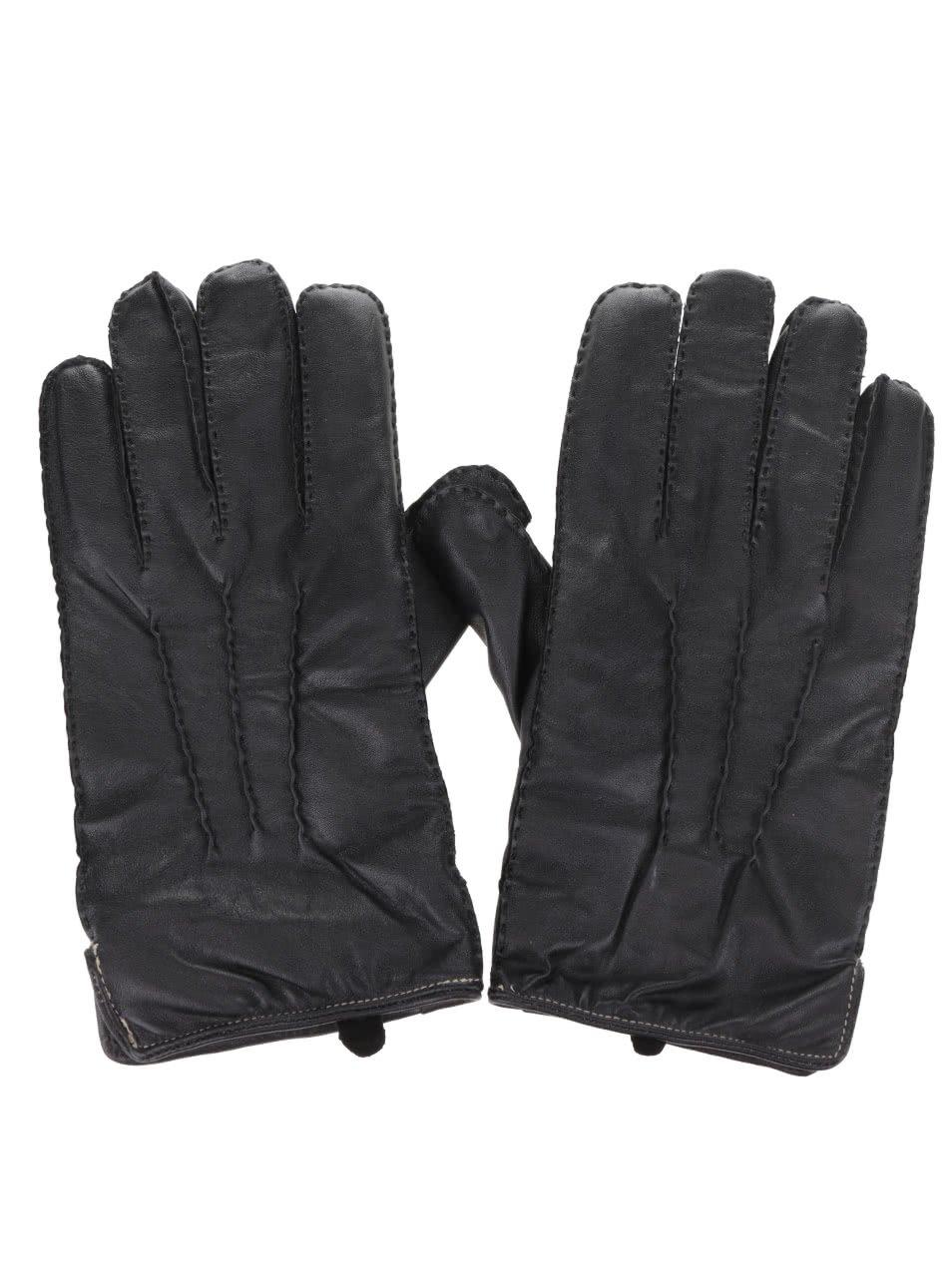 Černé kožené rukavice Dice