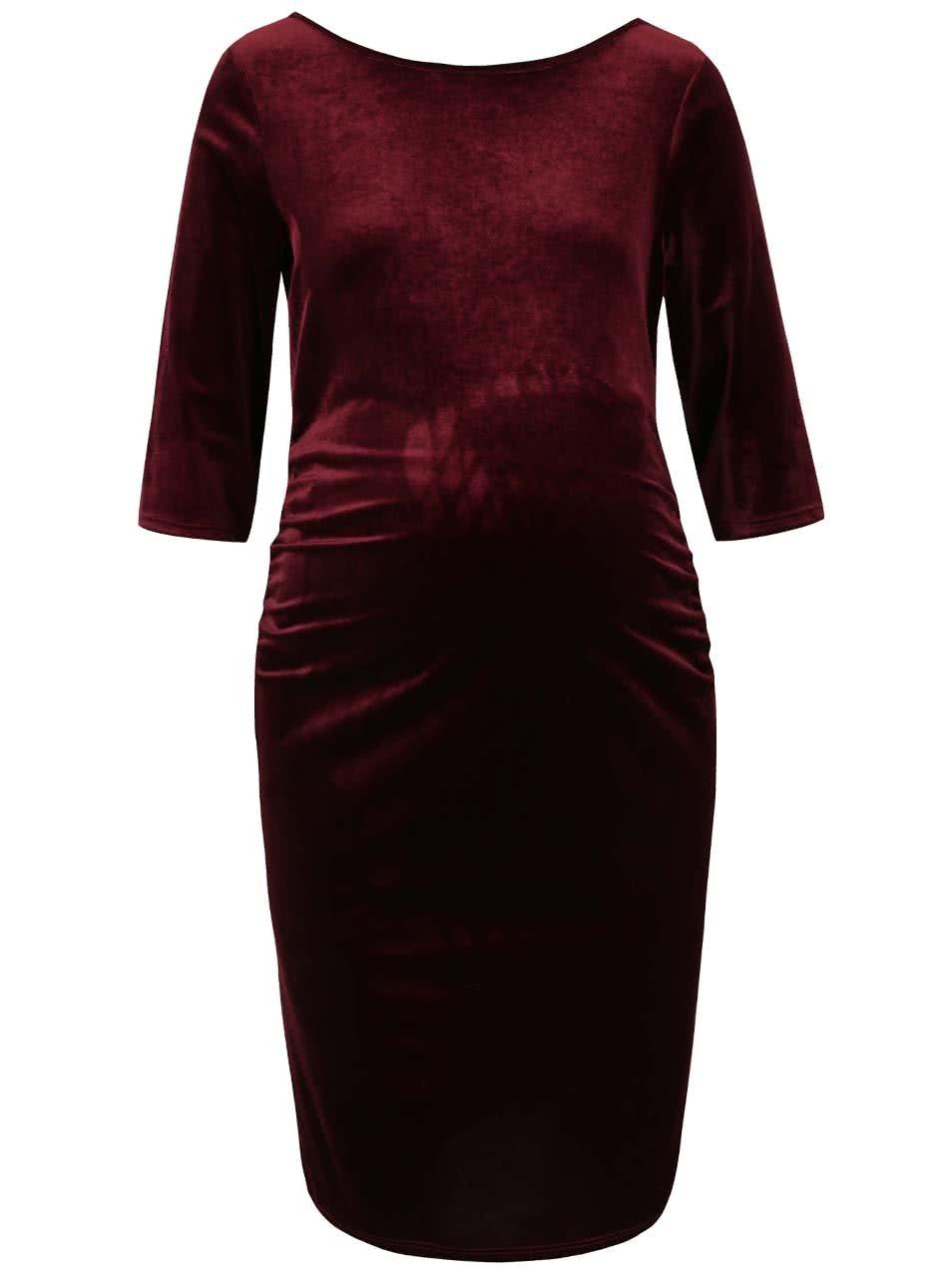 Vínové sametové těhotenské šaty s 3/4 rukávy Dorothy Perkins Maternity