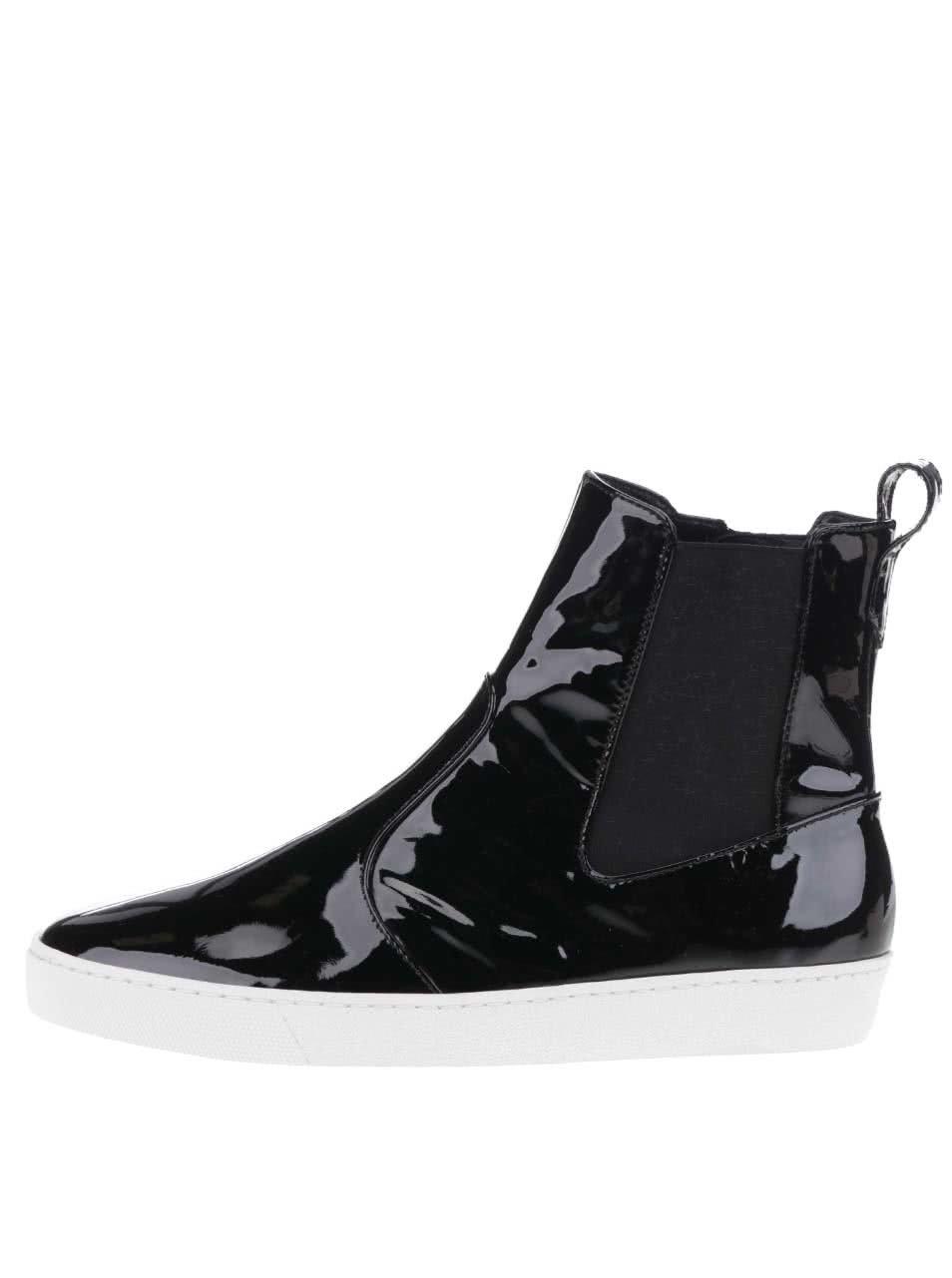 Černé lesklé kožené chelsea boty Högl
