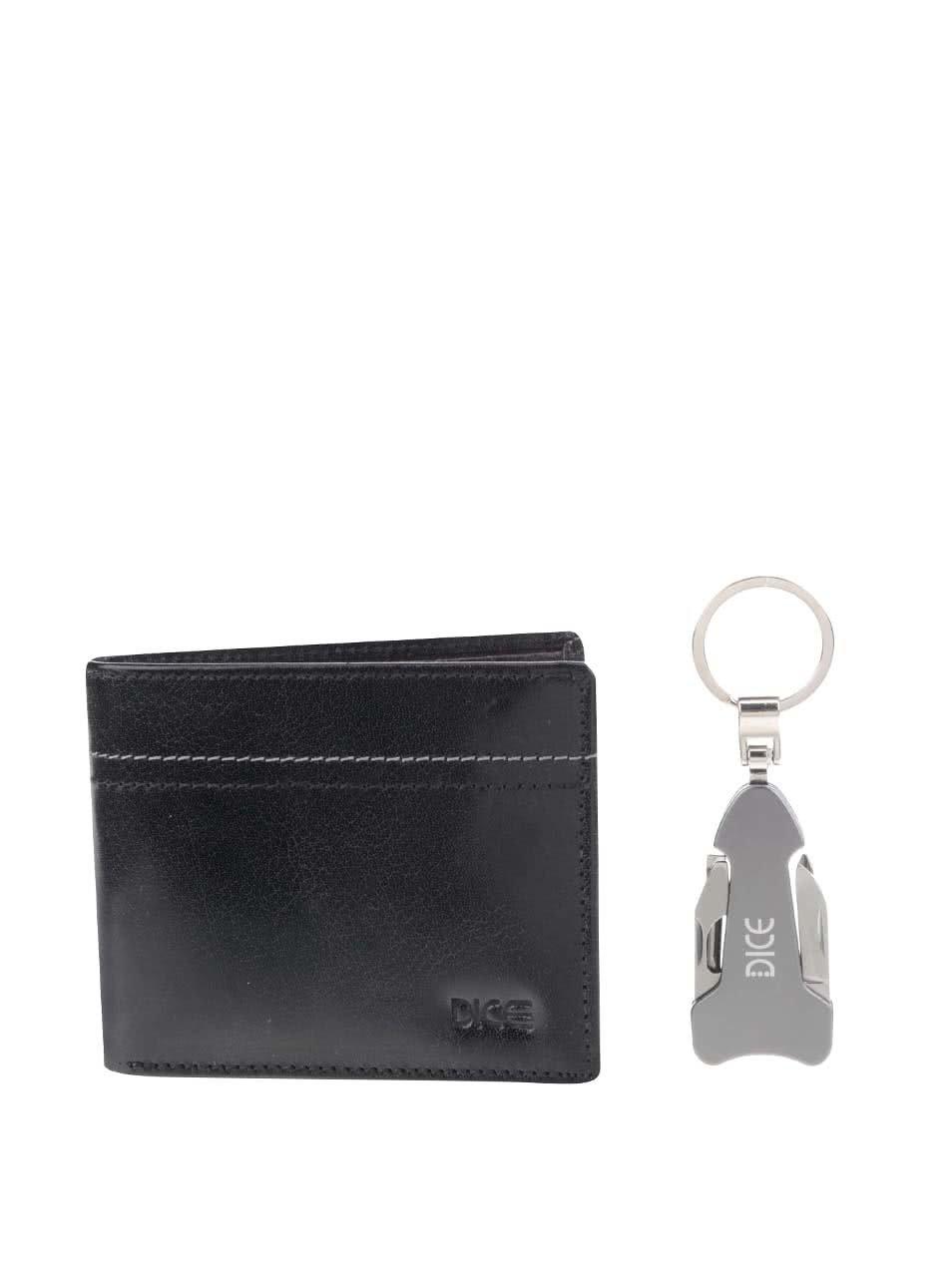 Dárkový set černé kožené peněženky a klíčenky s multifunkčním nožem Dice