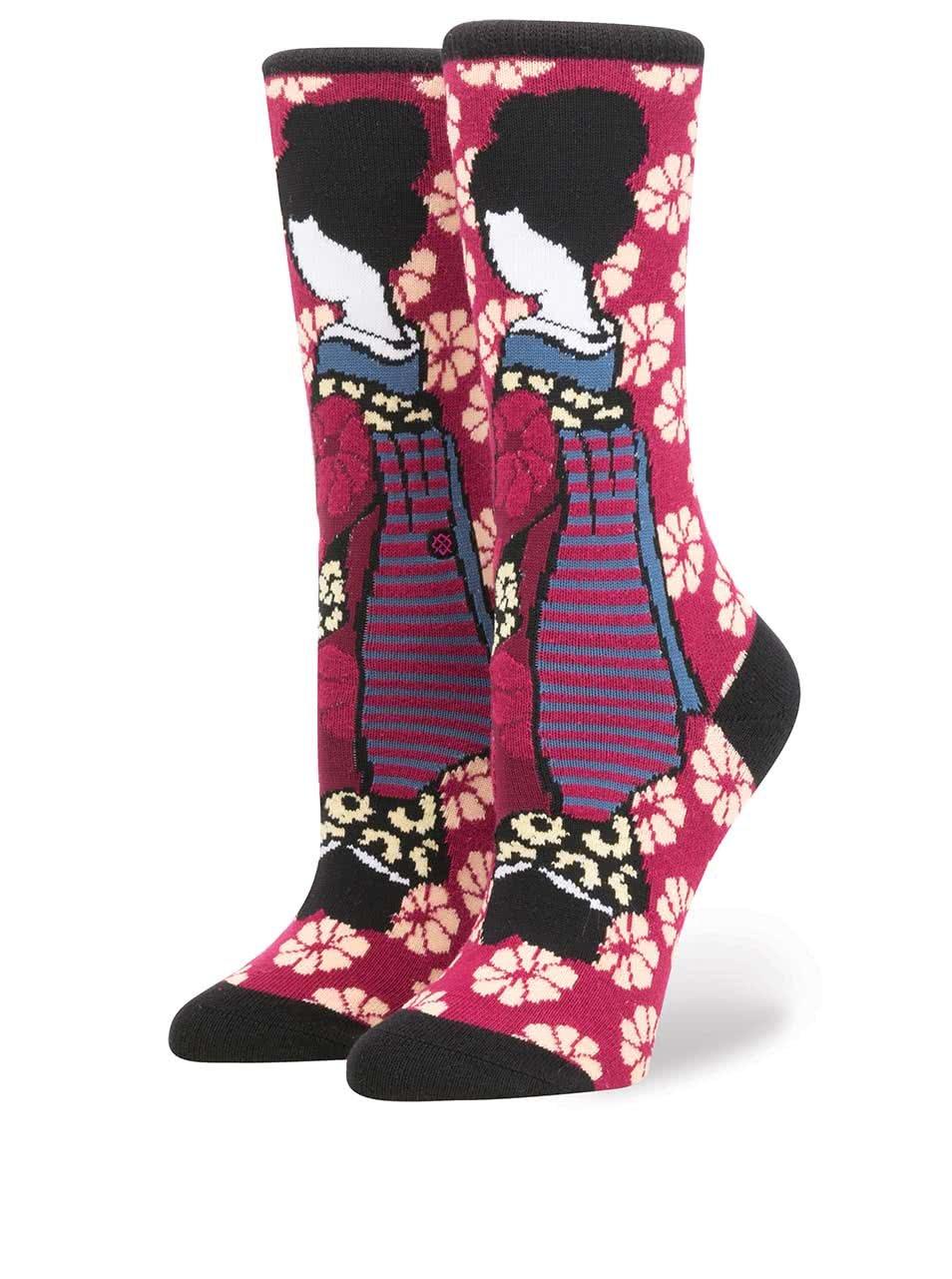 Vínovo-růžové dámské ponožky s japonským motivem Stance Geisha