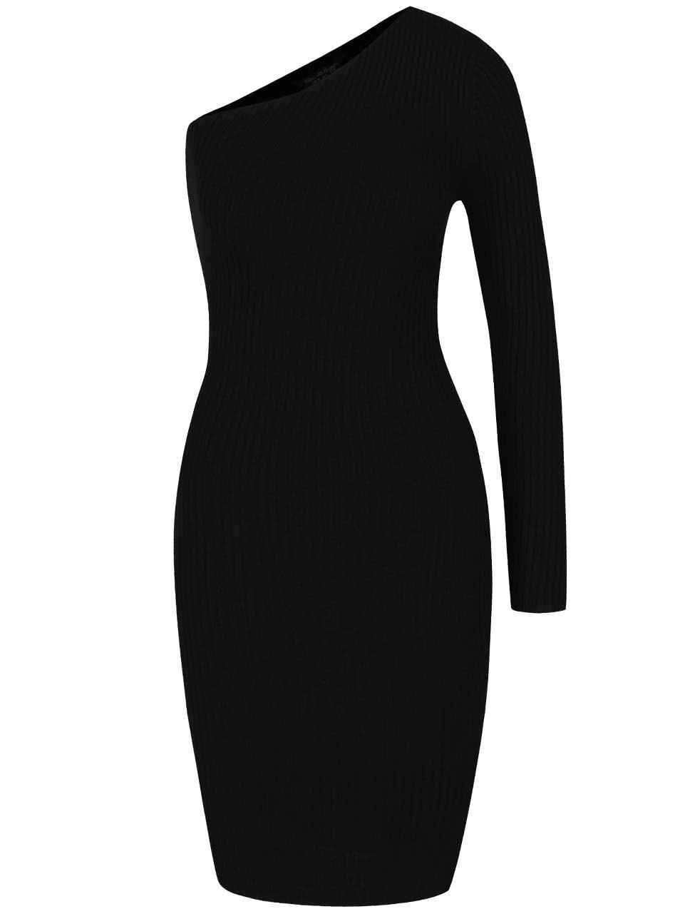 Černé žebrované šaty přes jedno rameno Miss Selfridge
