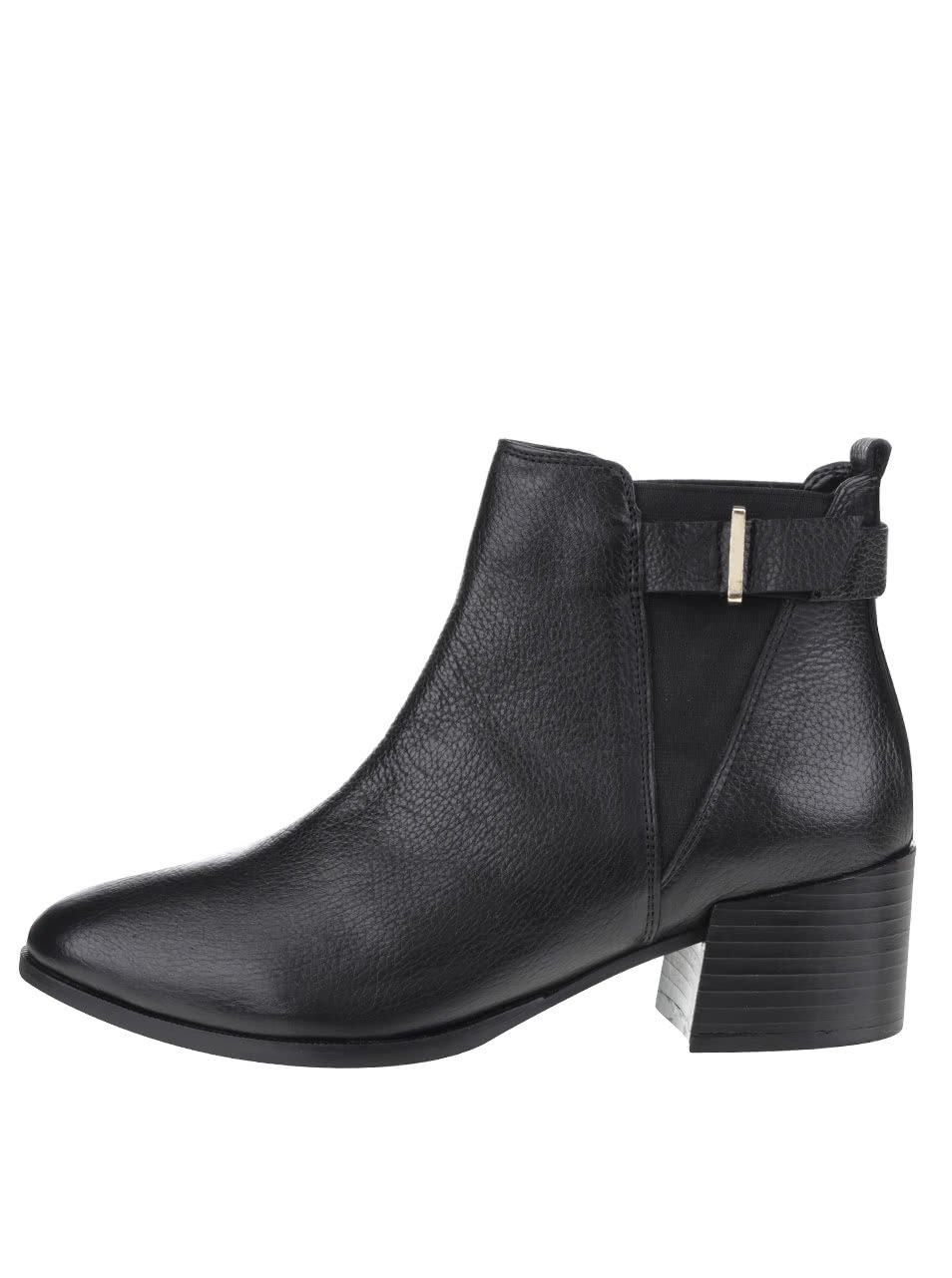 Černé kožené kotníkové chelsea boty s přezkou Miss Selfridge