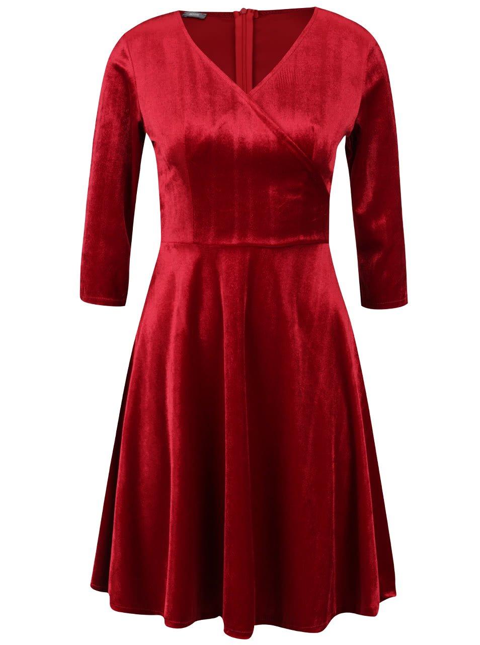 Červené sametové šaty s překládaným výstřihem ZOOT