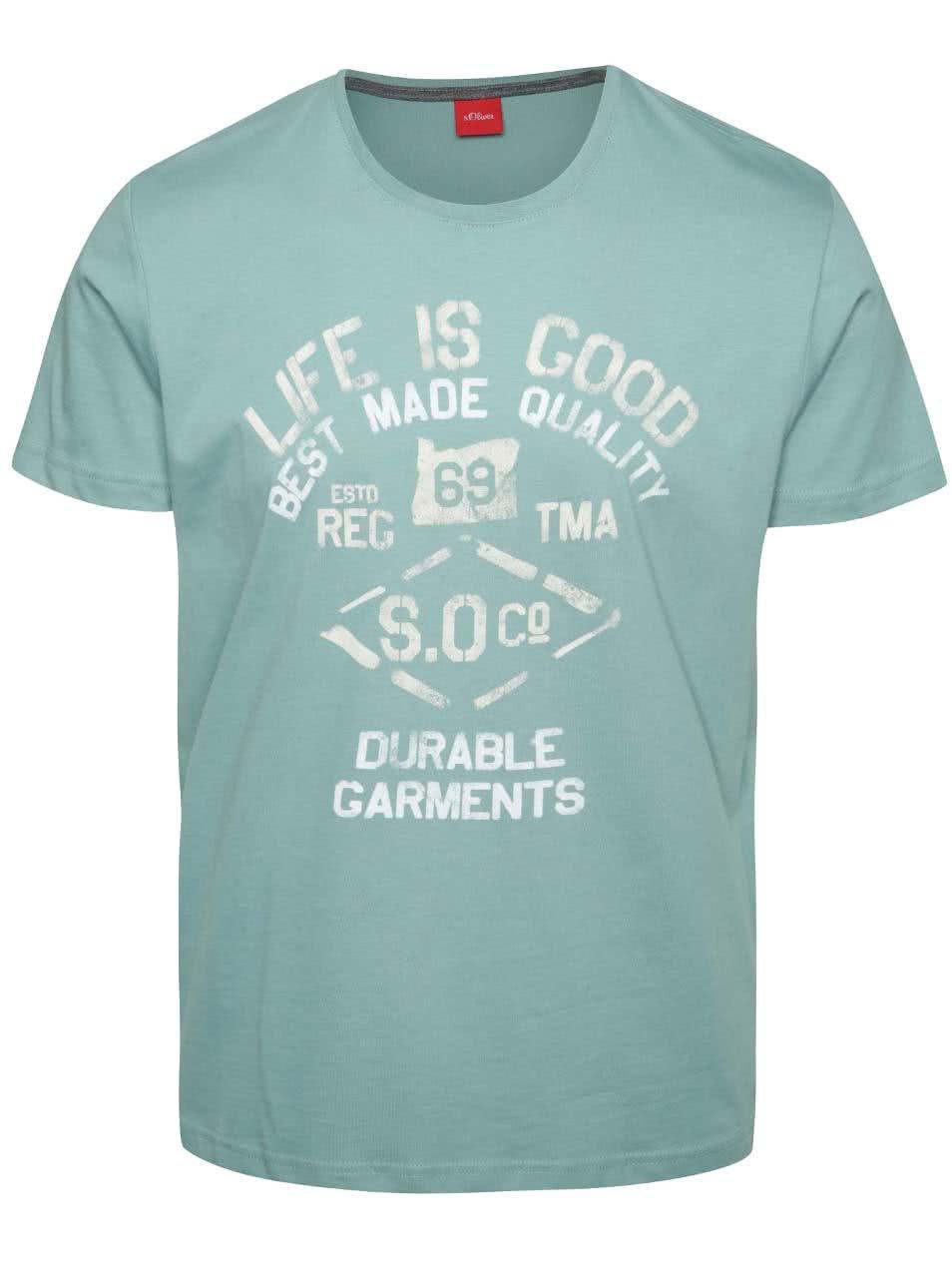 Tyrkysové pánské triko s potiskem s.Oliver