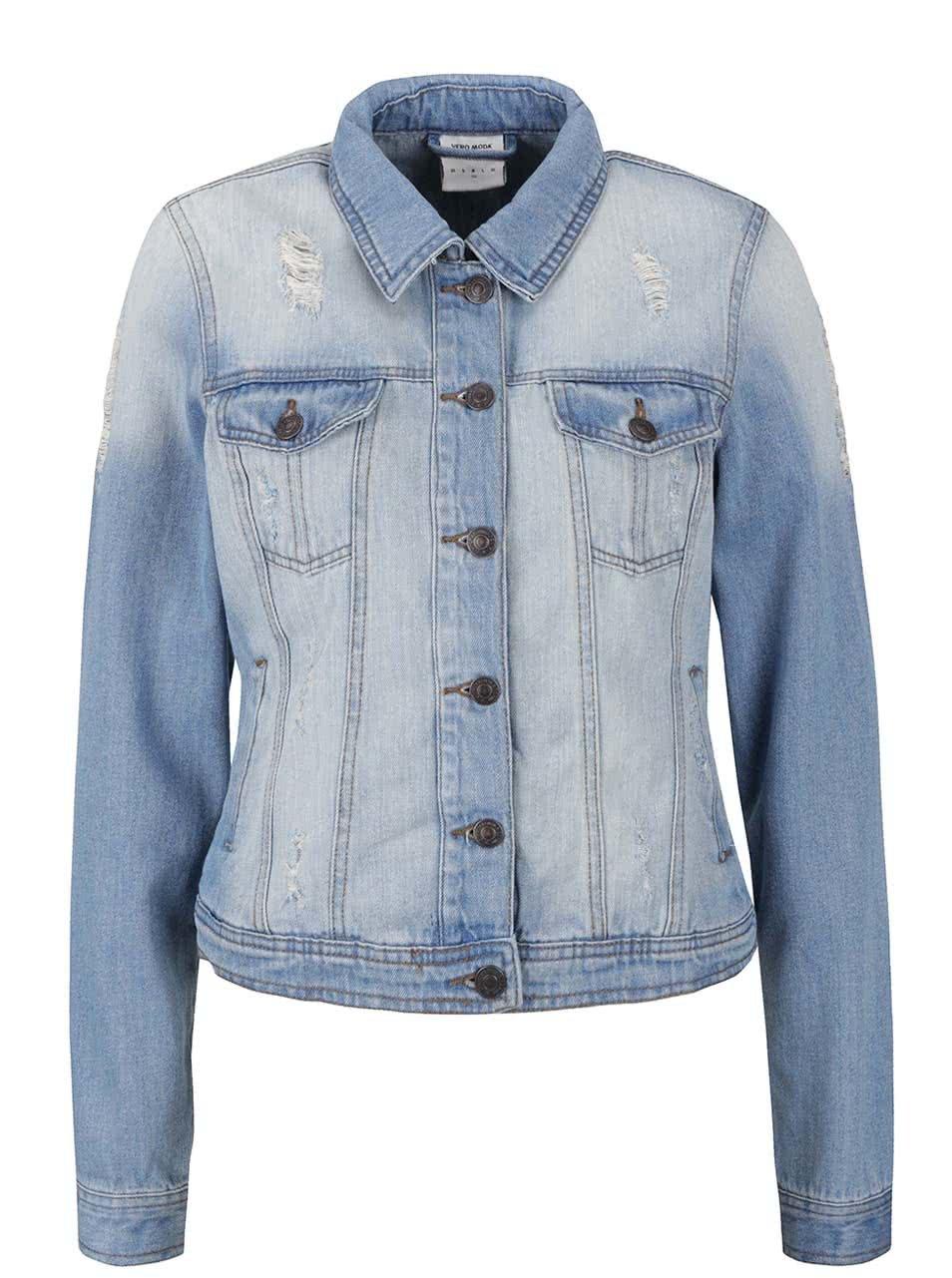Světle modrá džínová bunda s potrhaným efektem Vero Moda Danger