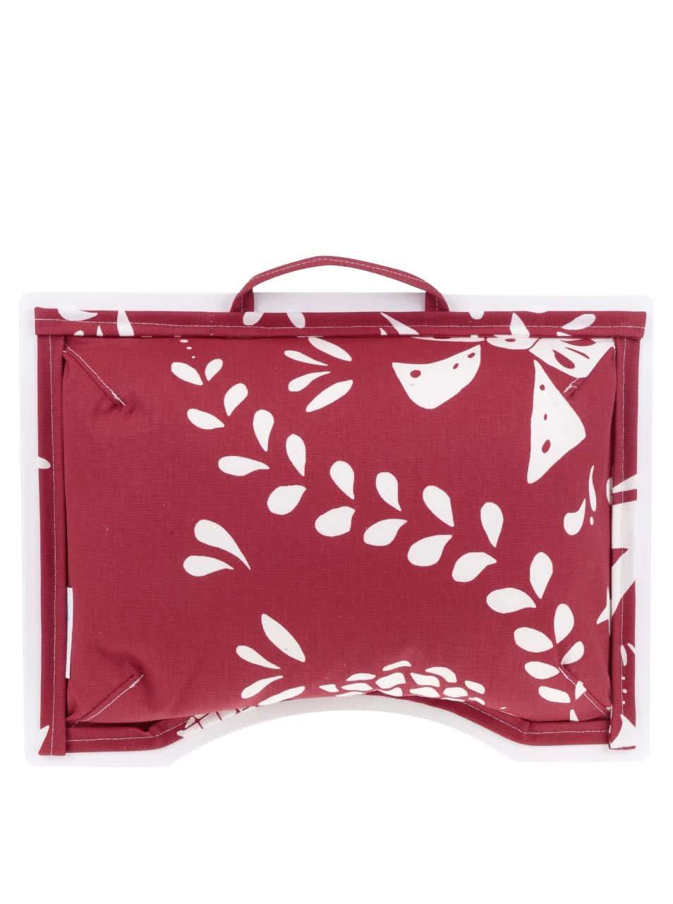 Bílo-červená menší podložka pod notebook se vzory Popono