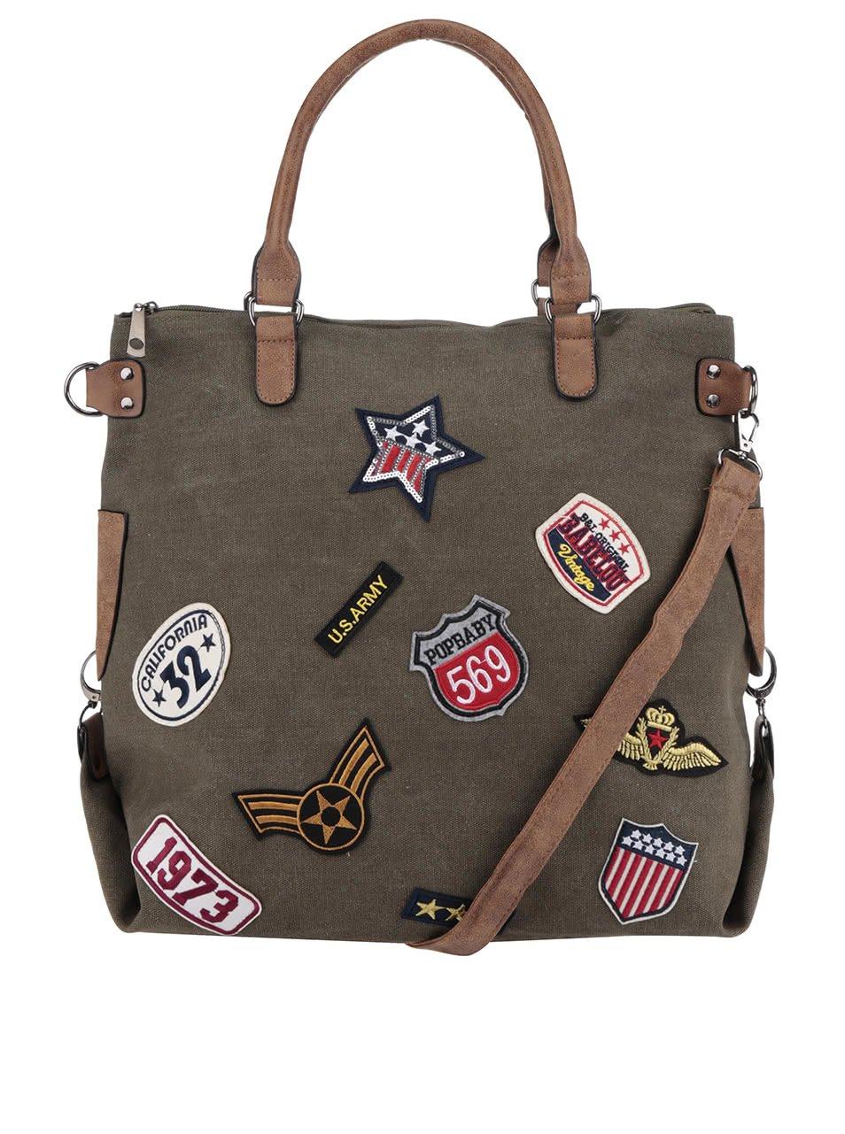 Khaki větší kabelka s nášivkami Haily´s Tasche