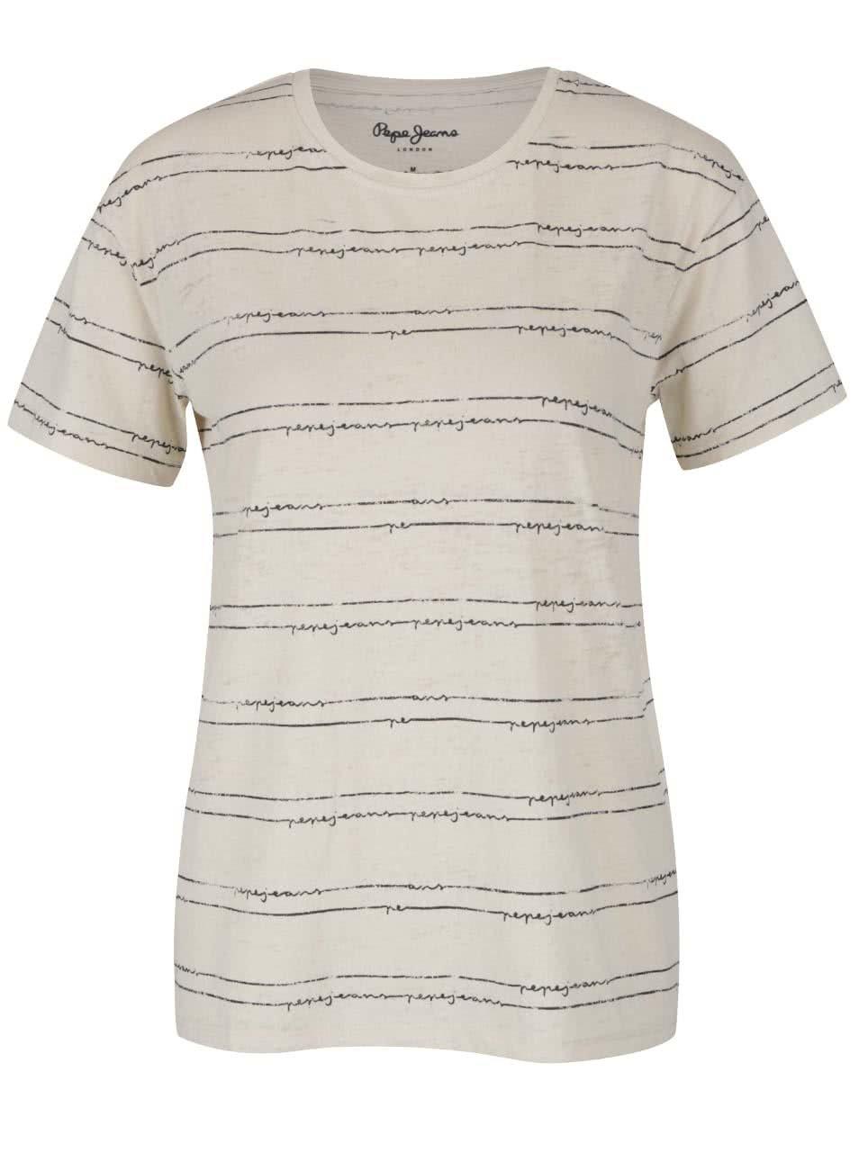Krémové dámské tričko Pepe Jeans Lauren