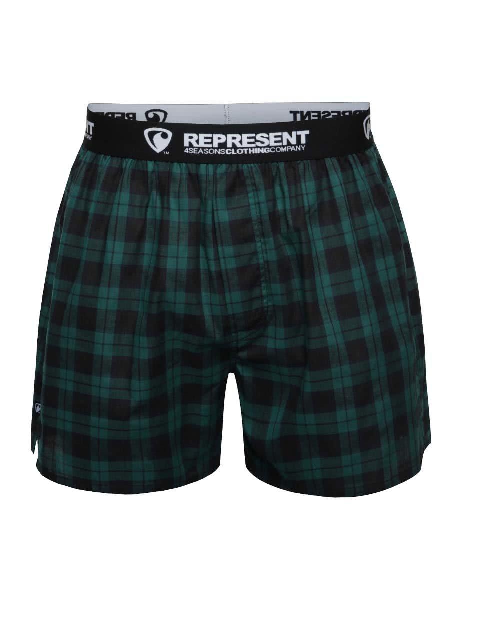 Černo-zelené kostkované trenýrky Represent Mikebox
