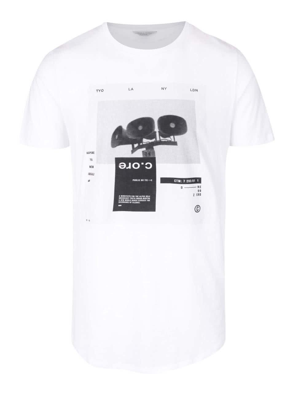 Bílé triko s potiskem Jack & Jones Announcement