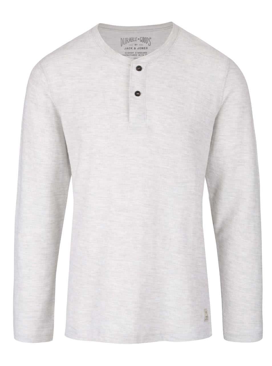Krémové žíhané tričko s knoflíky a dlouhým rukávem Jack & Jones Sebastian