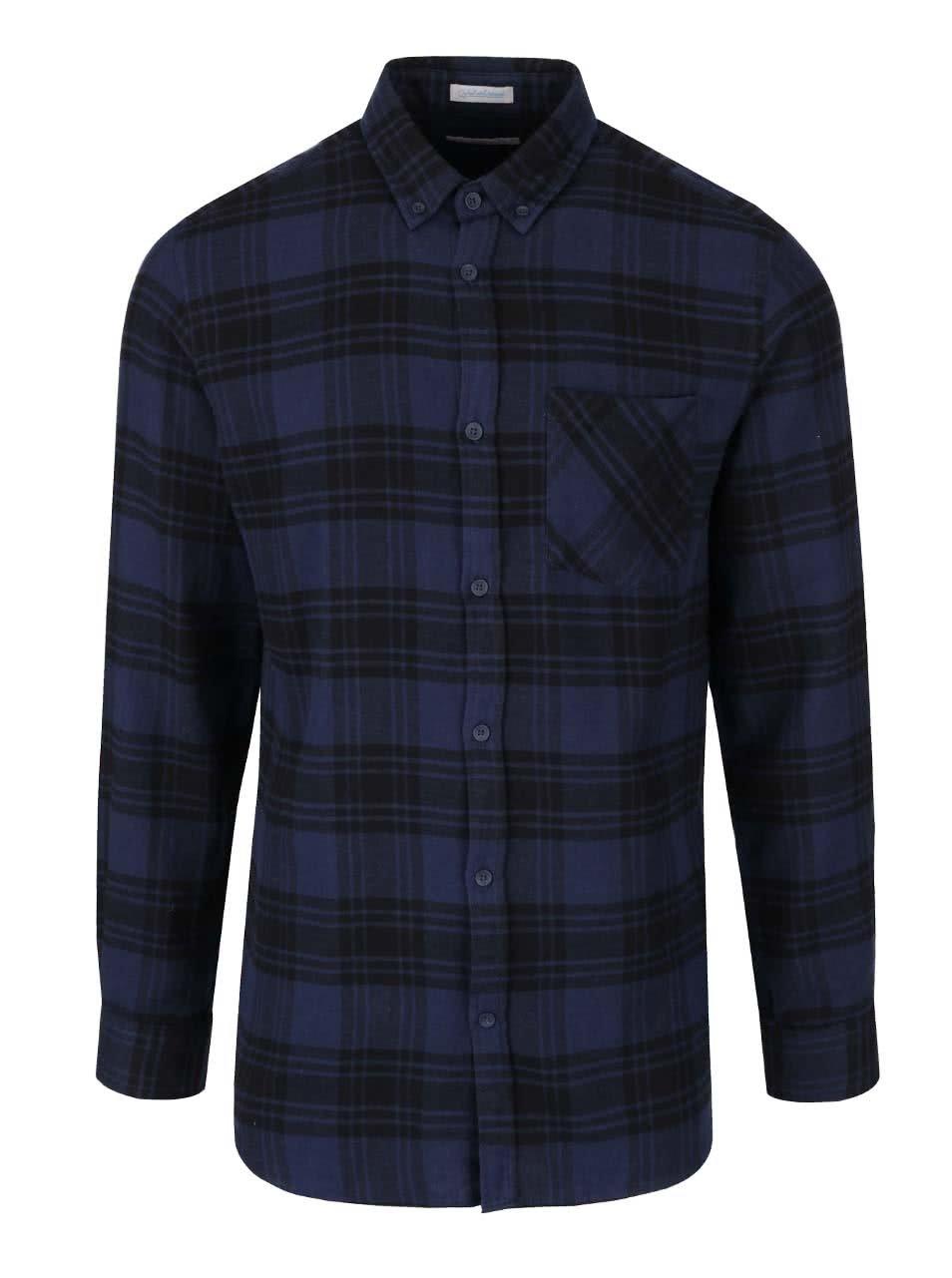 Černo-modrá károvaná flanelová košile Jack & Jones Peter
