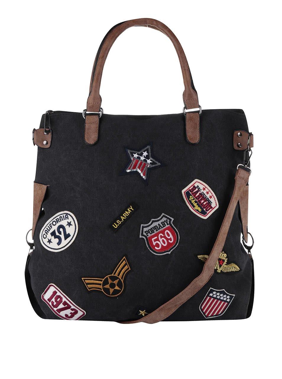 Černá větší kabelka s nášivkami Haily´s Tasche