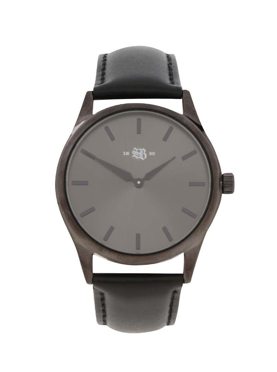 Černé pánské hodinky s koženým páskem CHPO SB 1650