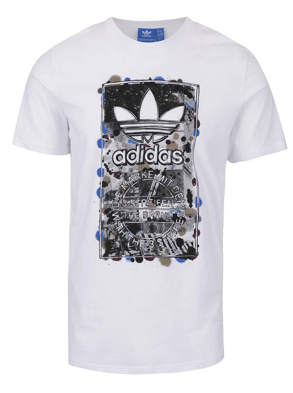 Bílé pánské triko s barevným potiskem adidas Originals