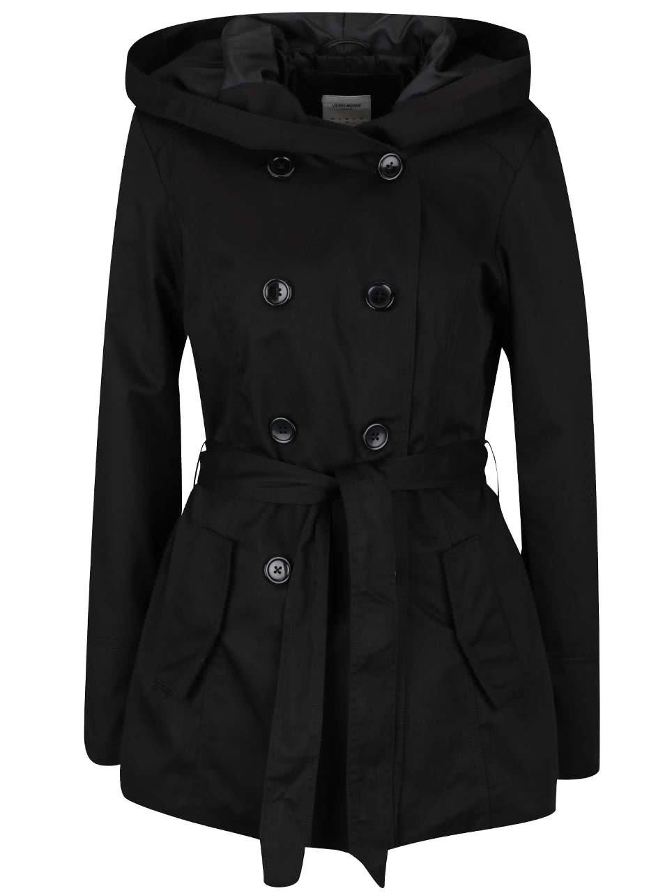 Černý trenčkot s kapucí Vero Moda Ottawa