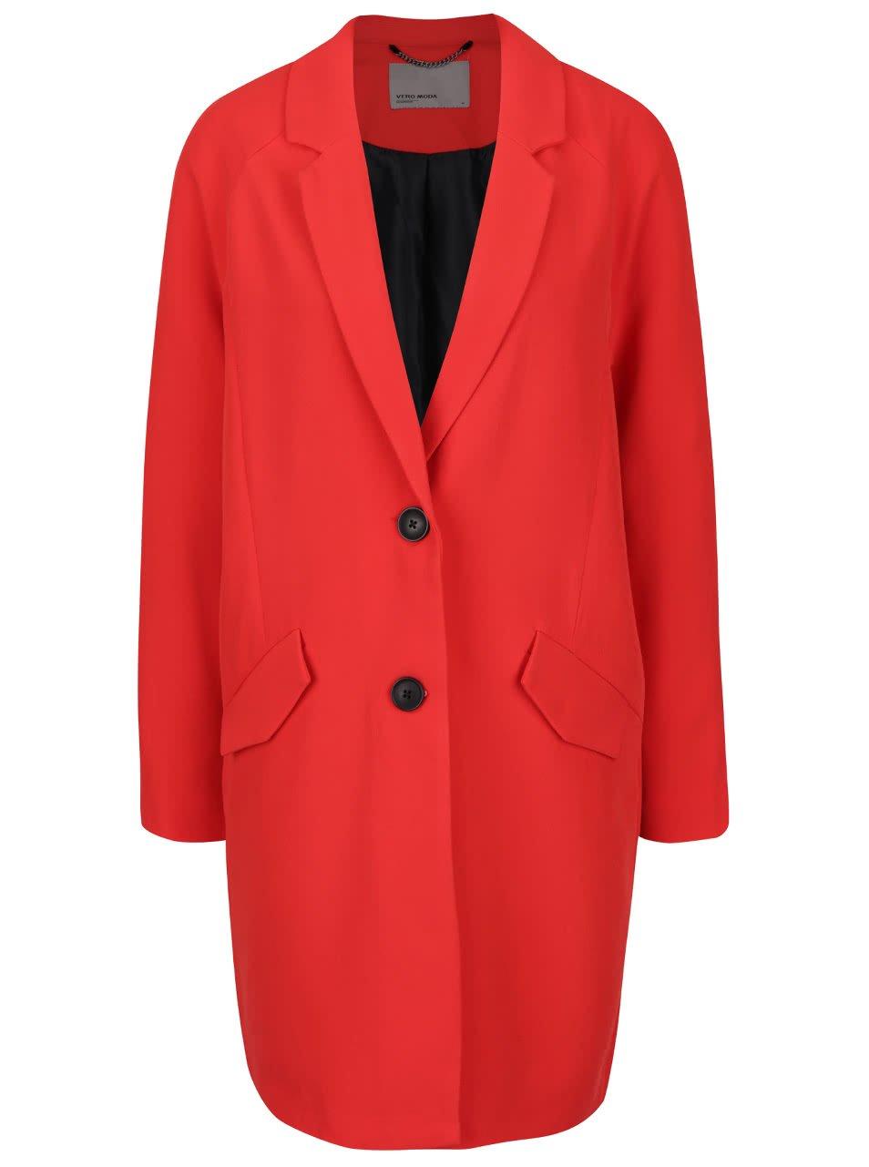 Červený kabát s falešnými kapsami Vero Moda Solo