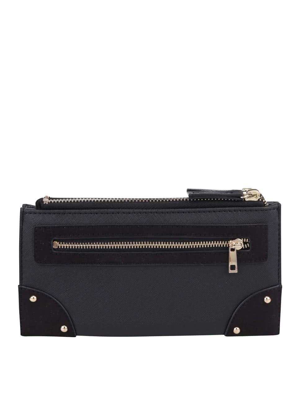 Černá peněženka s detaily ve zlaté barvě Dorothy Perkins