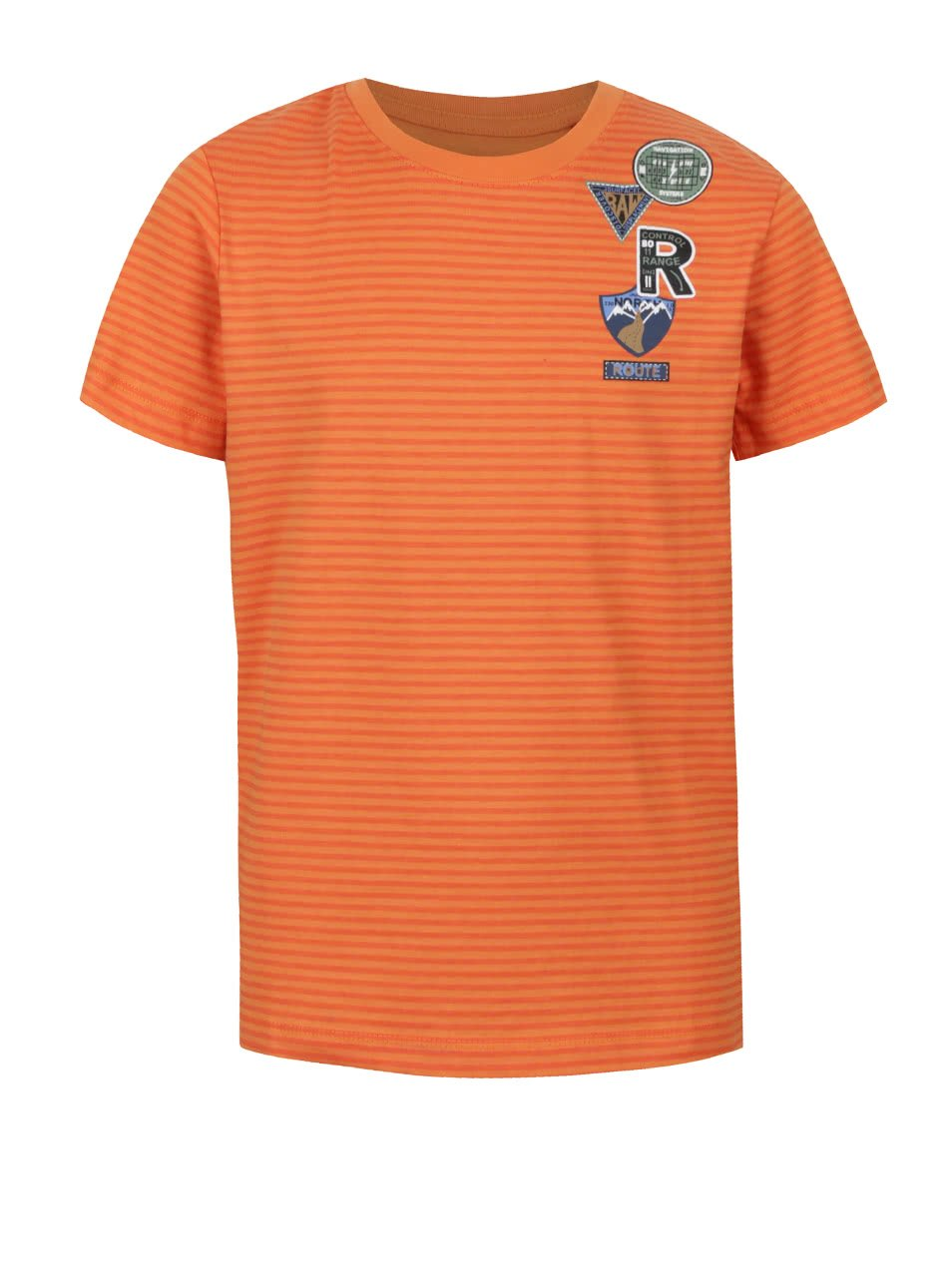 Oranžové klučičí pruhované triko s potiskem 5.10.15.