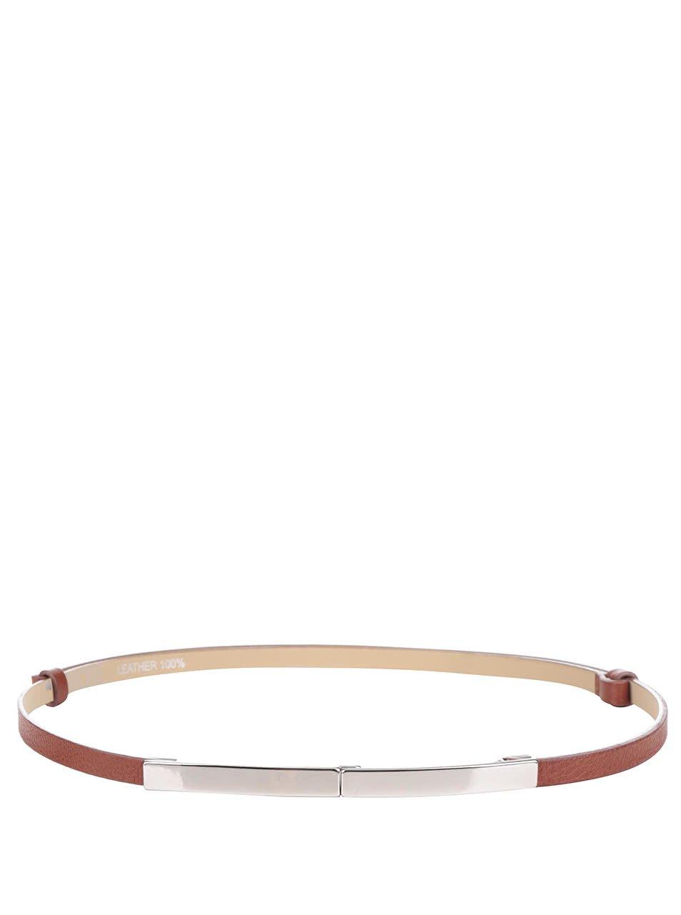 Hnědý dámský kožený tenký nastavitelný pásek Ritore Etro
