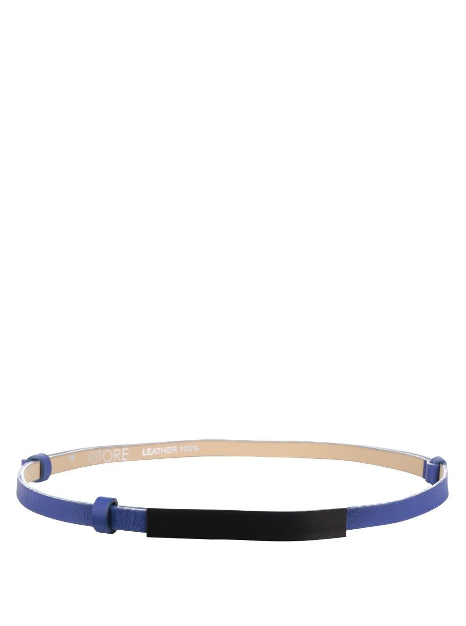 Modrý dámský kožený nastavitelný pásek s karbonovou sponou Ritore Brent