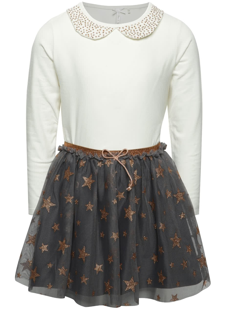 Set holčičího krémového trička a šedé tylové sukně 5.10.15.