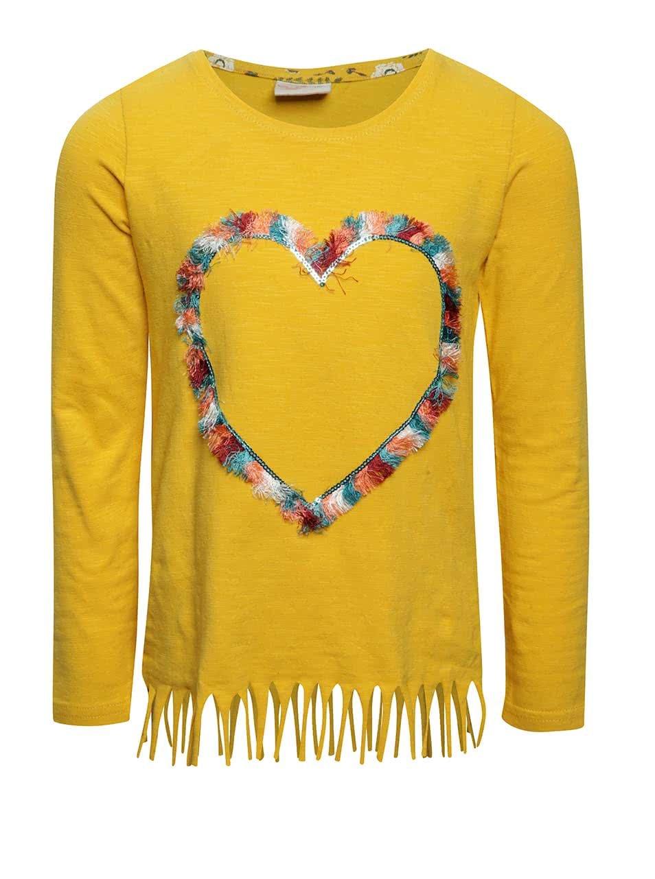 Žluté holčičí tričko s aplikací ve tvaru srdce a třásněmi 5.10.15.