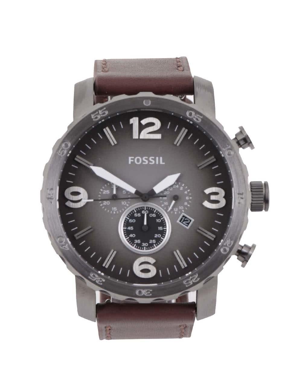 Šedé pánské hodinky s hnědým koženým páskem Fossil