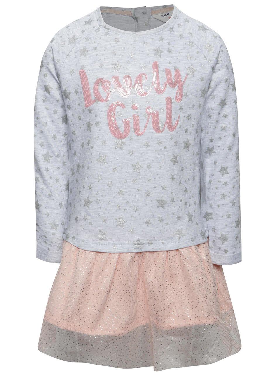 Růžovo-šedé holčičí mikinové šaty 5.10.15.