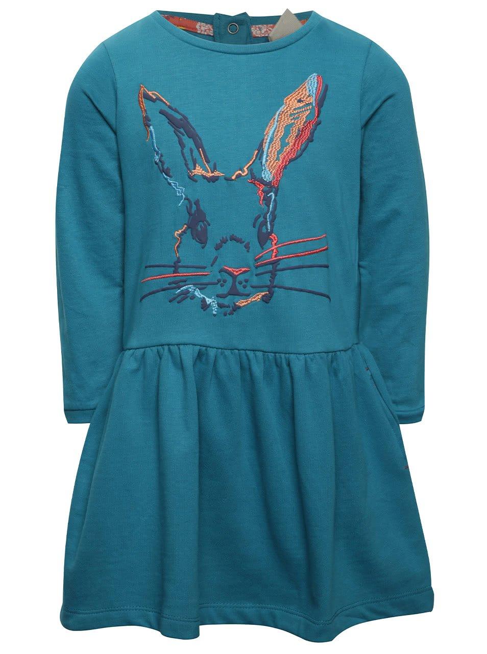Petrolejové holčičí šaty s barevným motivem králíka 5.10.15.