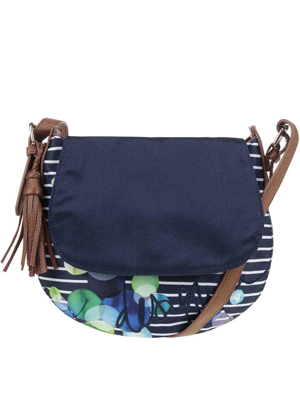 Tmavě modrá pruhovaná kabelka Desigual Genova Ivyblue