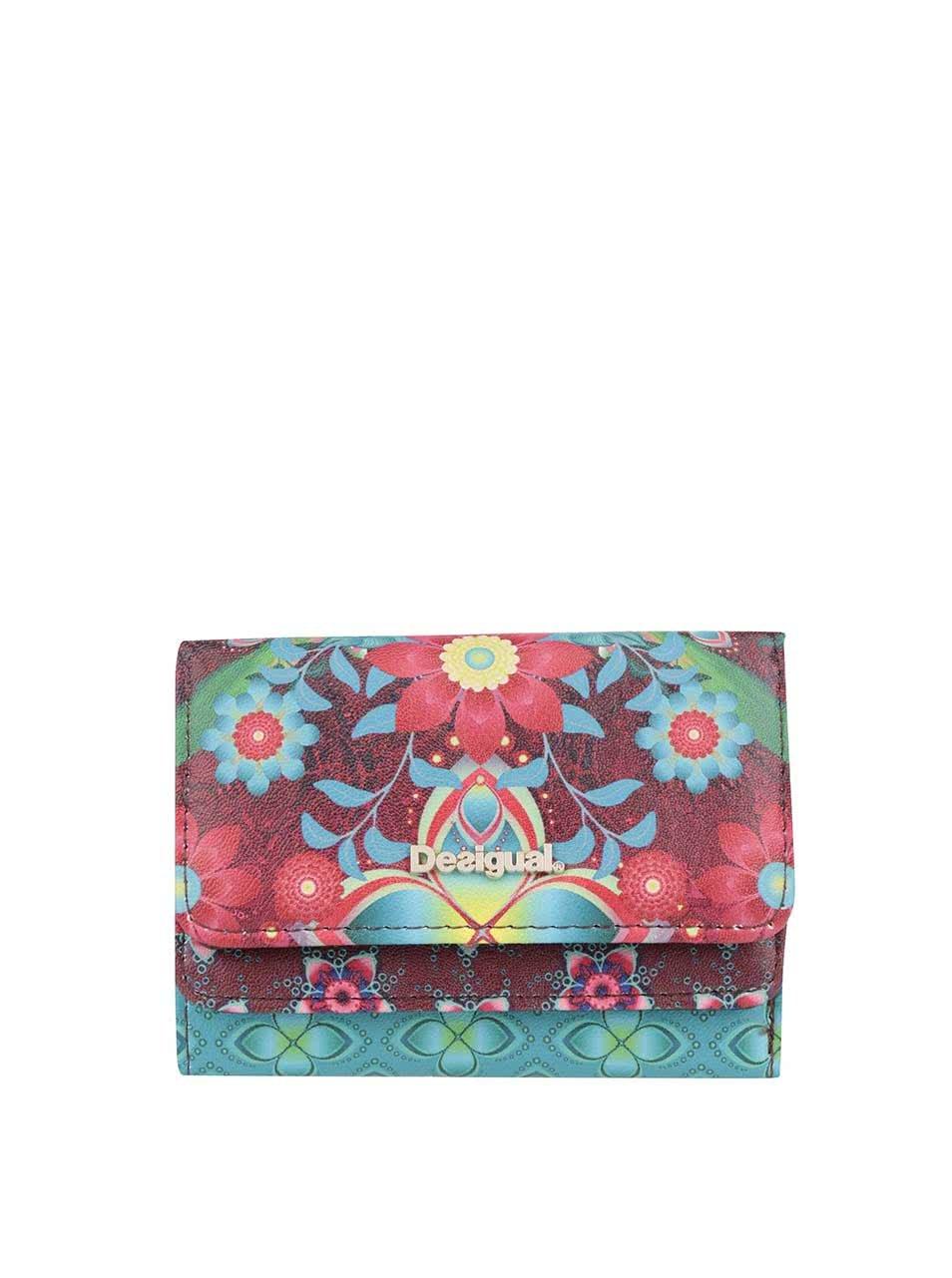 Tyrkysovo-červená květovaná peněženka Desigual Mix Kaitlin