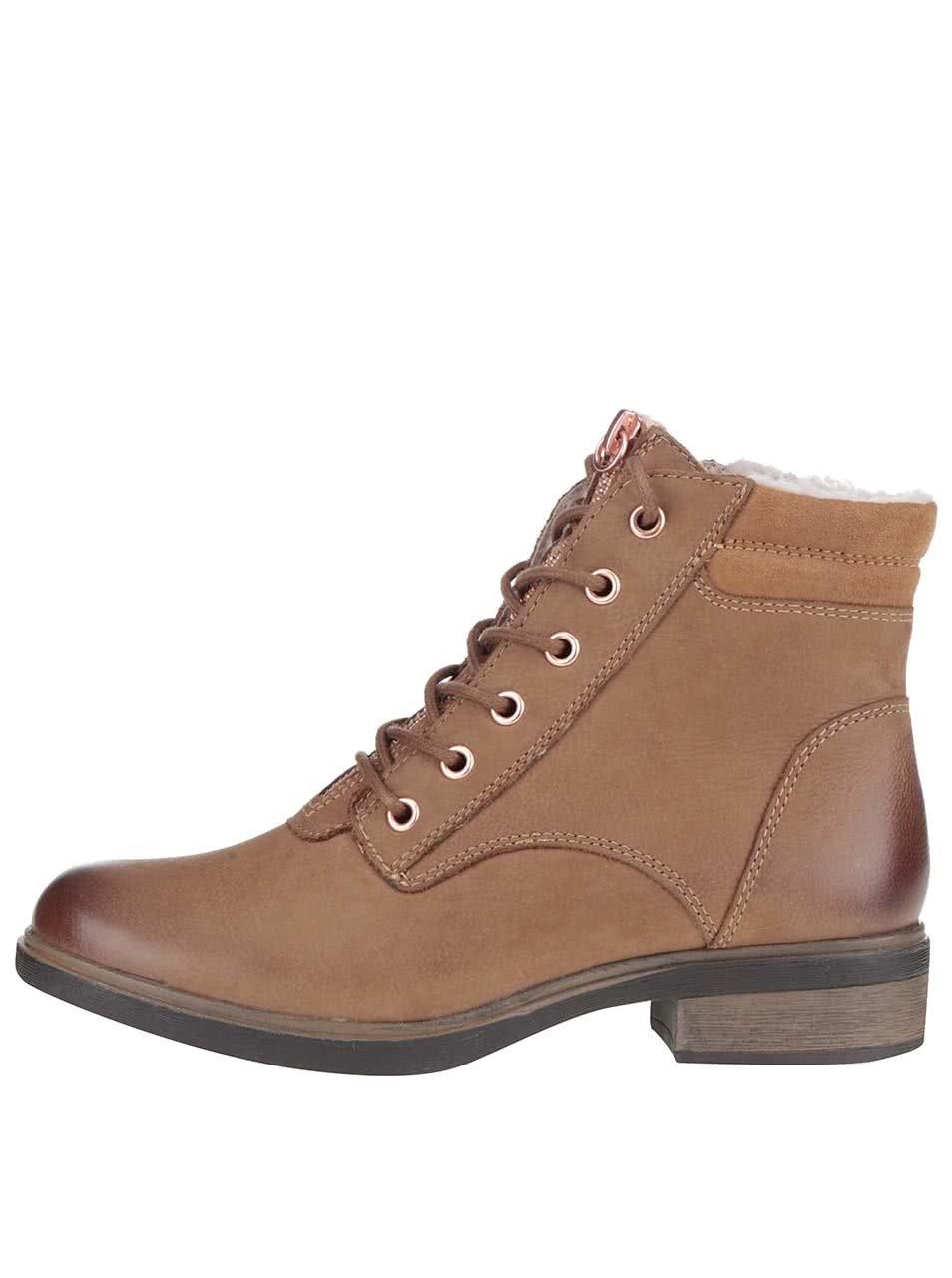 Světle hnědé kožené kotníkové boty se šněrováním Tamaris