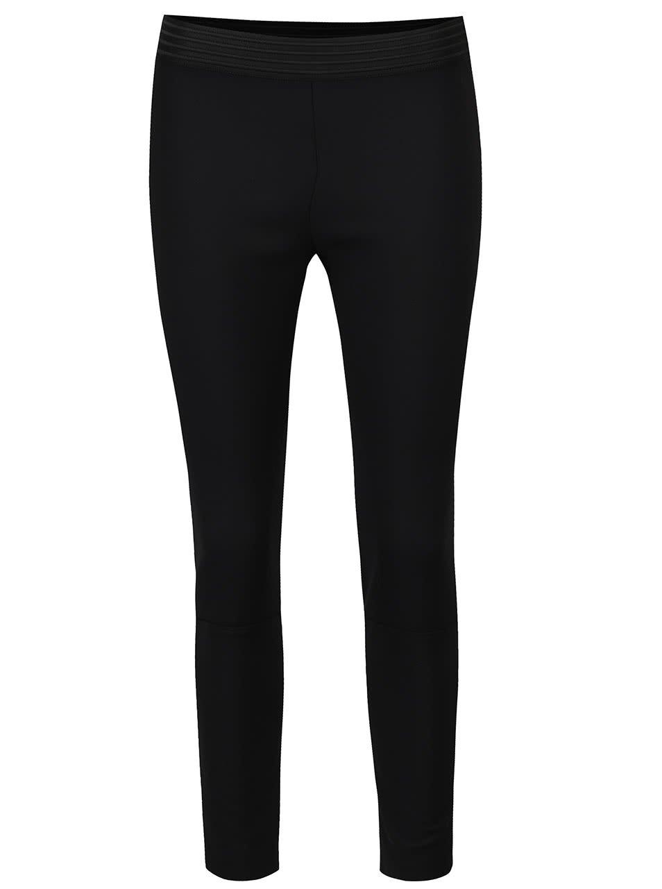 Černé kalhoty s výraznou gumou v pase French Connection Glass