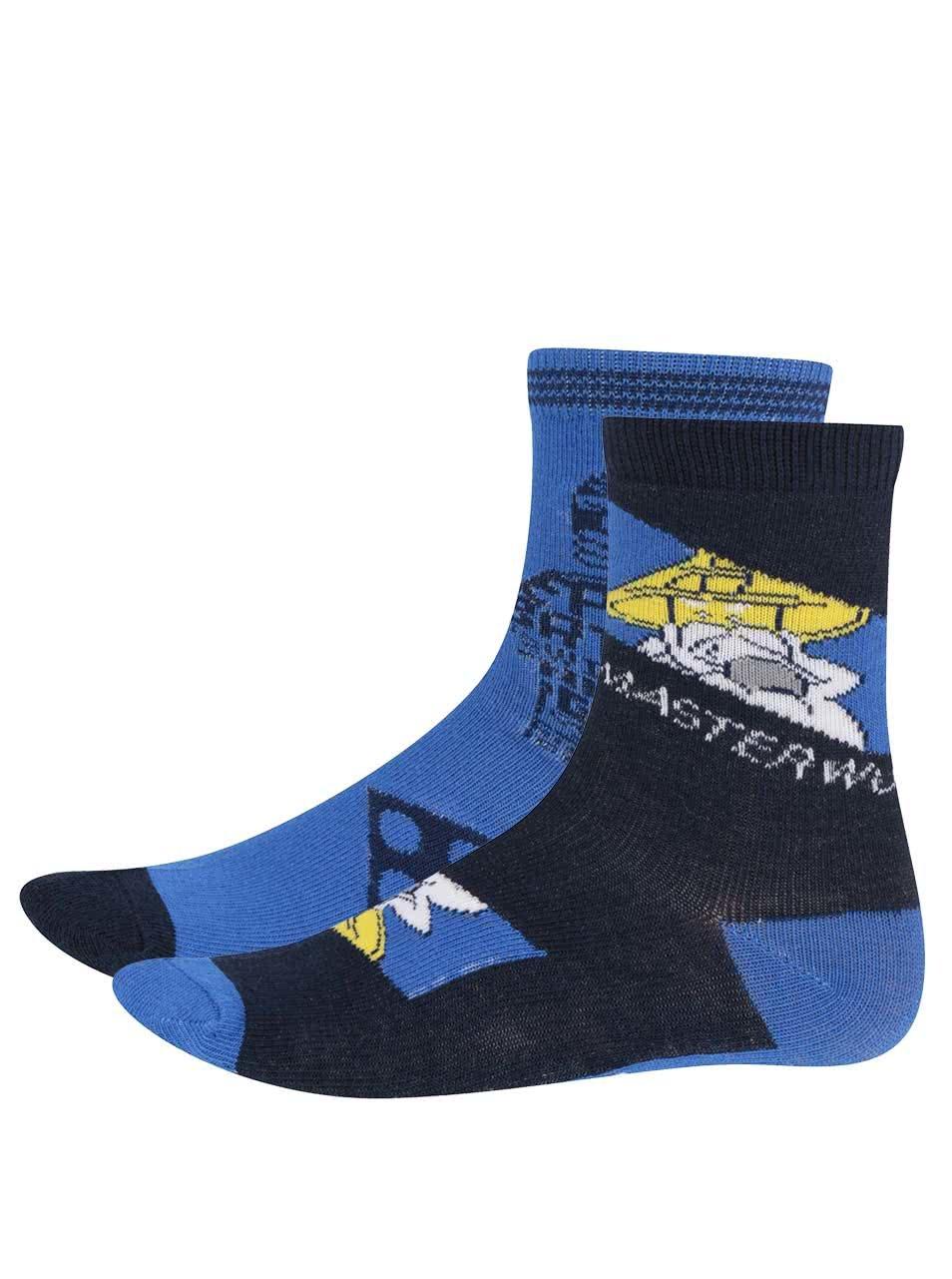 Sada dvou párů klučičích ponožek v modré barvě s potiskem LEGO Wear Ayan