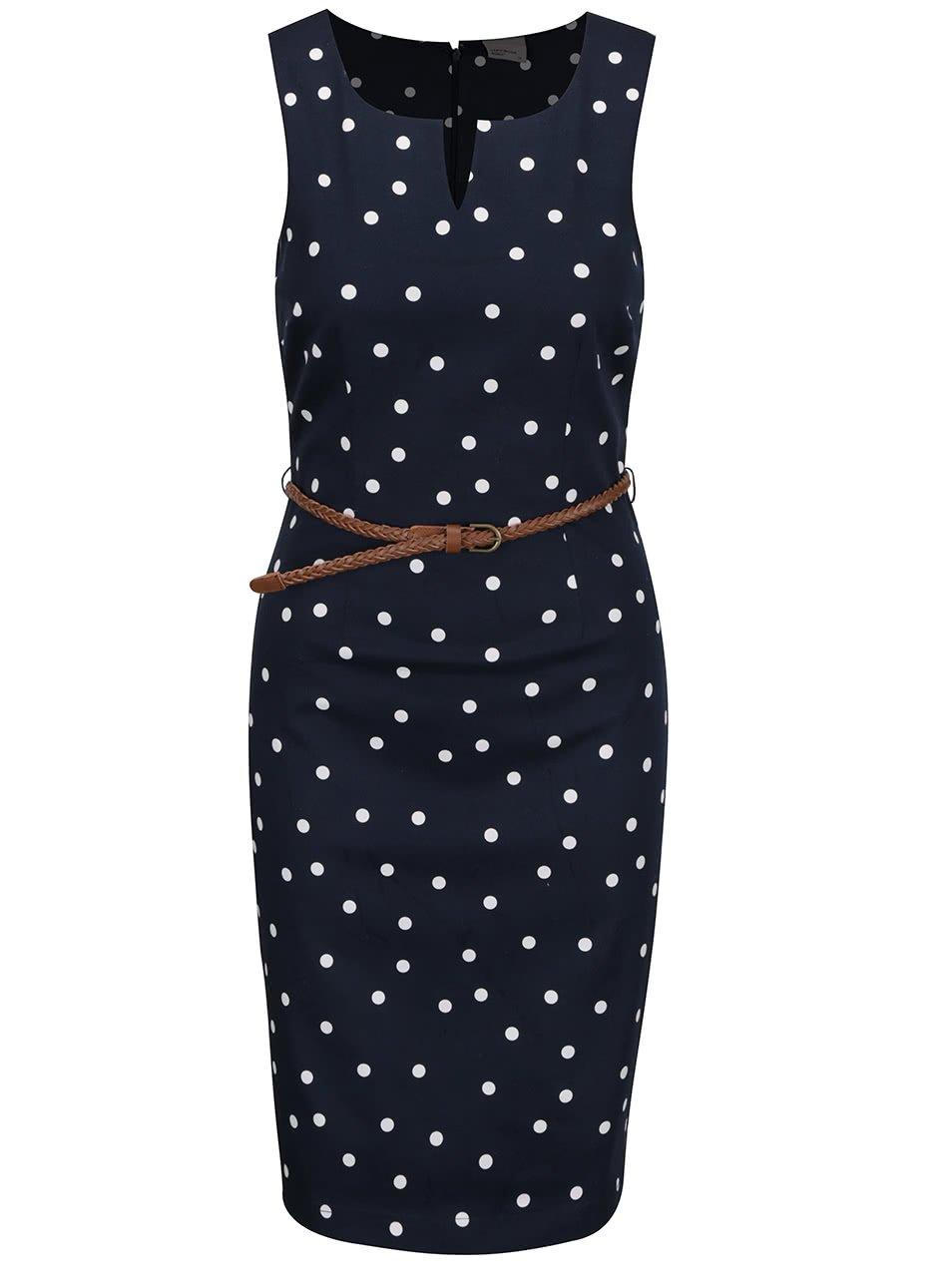 Krémovo-modré puntikované šaty s páskem Vero Moda Pekaya