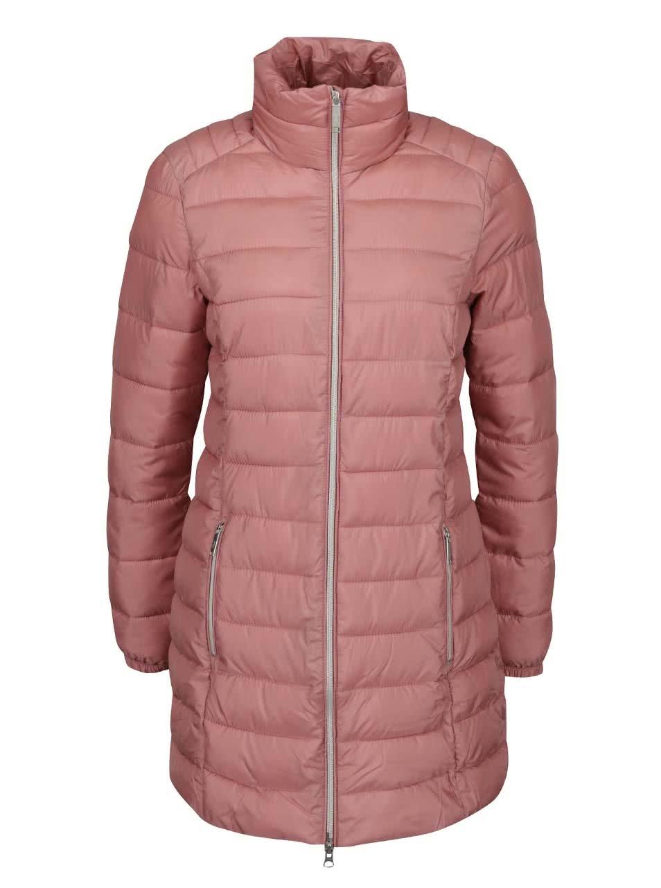 Růžový dámský prošívaný kabát s.Oliver