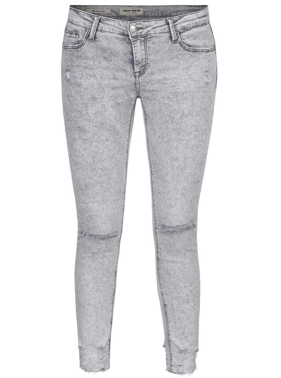 Světle šedé skinny džíny s dírami na kolenou TALLY WEiJL