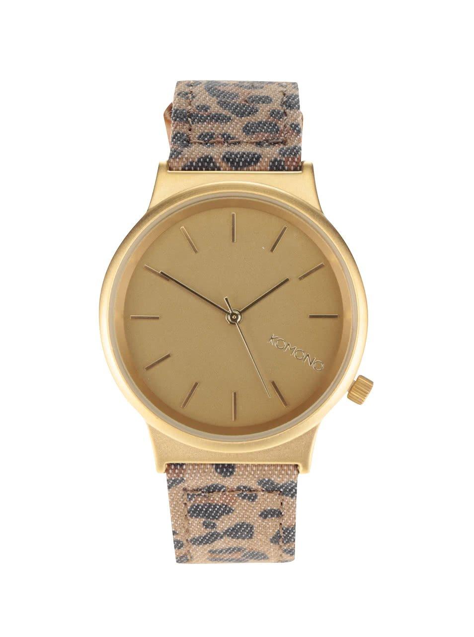 Dámské hodinky ve zlaté barvě s hnědým vzorovaným textilním páskem Wizard Print