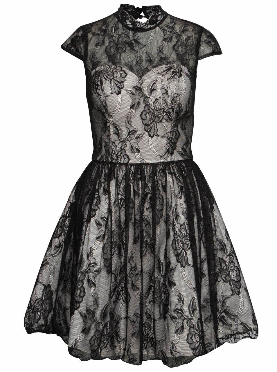 Krémovo-čierne čipkované šaty Chi Chi London Darcy    dressie.sk 4ee71c10f13