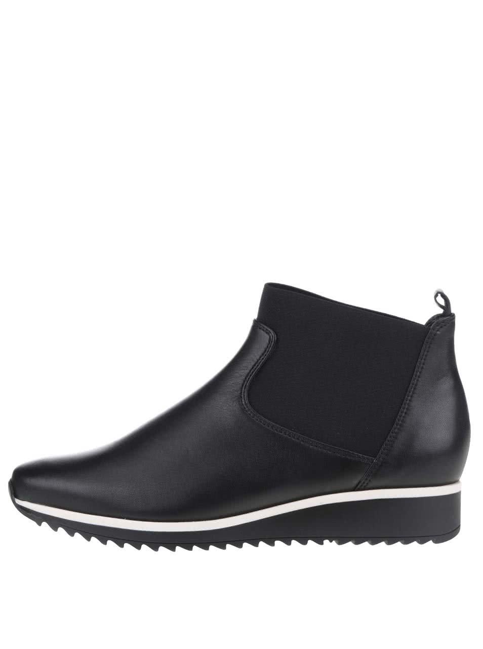 Černé dámské kožené chelsea boty Högl
